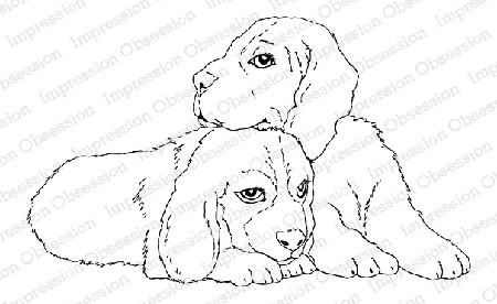 Impression Obsession - Cling Mounted Rubber Stamp By Gail Green - Puppy Friends