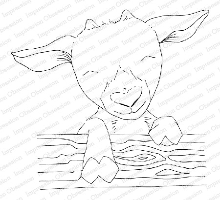 Impression Obsession - Baby Goat Cling Mounted Rubber Stamp By Dina Kowal