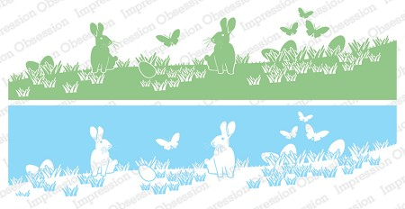 Impression Obsession - Bunnies in Grass Slimline Cling Mounted Rubber Stamp Set