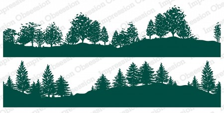 Impression Obsession - Tree-lined Hillside Duo Slimline Cling Mounted Rubber Stamp Set