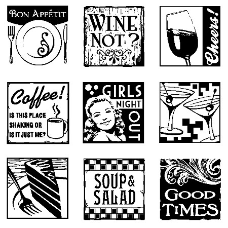 Inkadinkado Clear Stamps - Inchies - Dining Out w/block