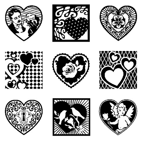 Inkadinkado Clear Stamps - Inchies - Hearts w/block