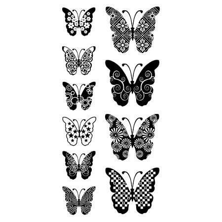 Inkadinkado Clear Stamps - Patterned Butterflies :)