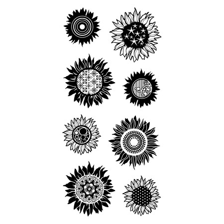 Inkadinkado Clear Stamps - Patterned Sunflowers
