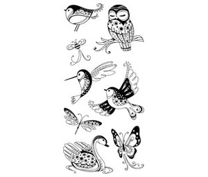 Inkadinkado Clear Stamps - Patterned Birds & Bugs :)