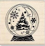 Inkadinkado Wood Mounted Rubber Stamp - Tree Snowglobe :)