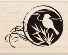 Inkadinkado Wood Mounted Rubber Stamp - Bird Circle