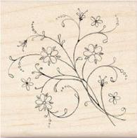Inkadinkado Wood Mounted Rubber Stamp - Flower Flourish