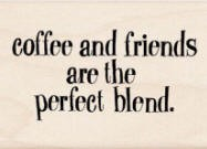 Inkadinkado Wood Mounted Rubber Stamp - Coffee and Friends