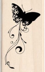 Inkadinkado Wood Mounted Rubber Stamp - Butterfly in Flight
