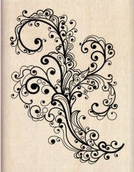 Inkadinkado Wood Mounted Rubber Stamp - Fancy Flourish :)