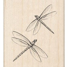 Inkadinkado Wood Mounted Rubber Stamp - Dragonflies
