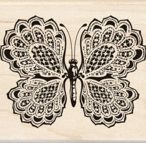 Inkadinkado Wood Mounted Rubber Stamp - Lacy Butterfly