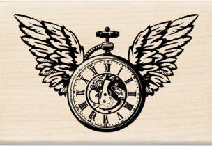 Inkadinkado Wood Mounted Rubber Stamp - Clock Wings