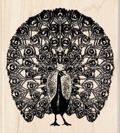 Inkadinkado Wood Mounted Rubber Stamp - Peacock