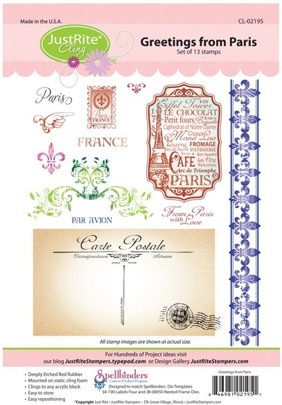 Just Rite-Cling Stamp Set-Greetings From Paris