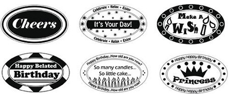 "Just Rite-1~3/8"" Small Oval Stamp Set-Birthday Ensemble Borders & Corners"
