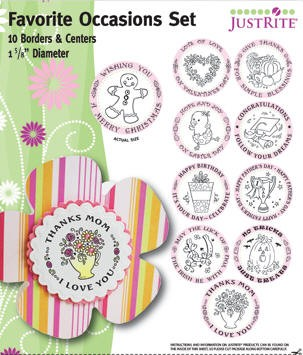 "Just Rite-1~5/8"" Round Stamp Set-Borders & Centers-Favorite Occasions"