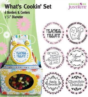 "Just Rite-1~5/8"" Round Stamp Set-Borders & Centers-What's Cooking"