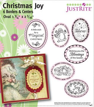 "Just Rite-1~3/4"" Small Oval Stamp Set-Christmas Joy Set"