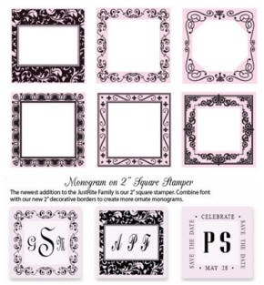 "Just Rite-2"" Square Stamp Set- Deco Frame Centers/Borders"