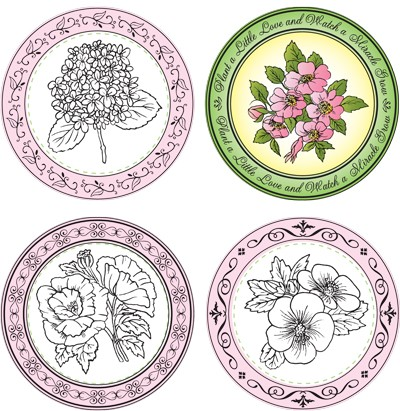 "Just Rite-3~1/4"" Round Stamp Set-Plant a Little Love Borders & Centers"