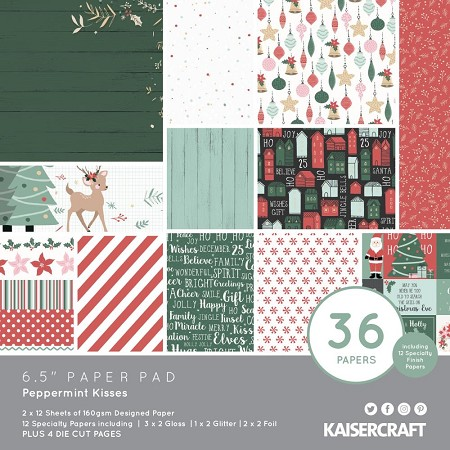 "KaiserCraft - Peppermint Kisses Collection - 6.5""x6.5"" Paper Pad"