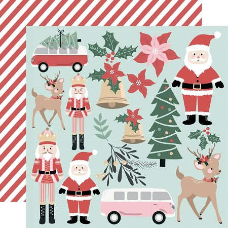 "KaiserCraft - Peppermint Kisses Collection - Santa & Co (12""x12"" Double Sided Paper)"