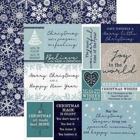 "KaiserCraft - Wonderland Collection - 12""x12"" Double Sided Paper - Snow Crystals"