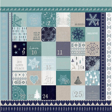 "KaiserCraft - Wonderland Collection - 12""x12"" Silver Foil Advent Cardstock"