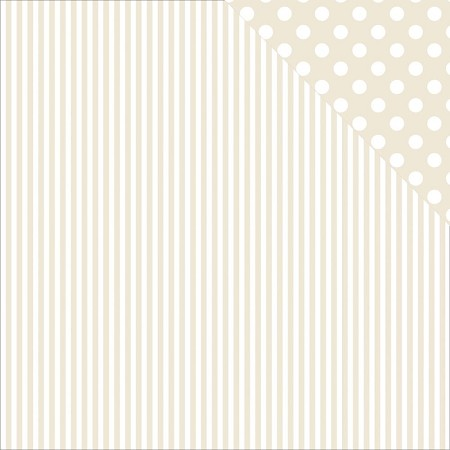 "KaiserCraft - Back To Basics Collection - 12""x12"" Double Sided Cardstock - Beige Stripe & Polka Dot"