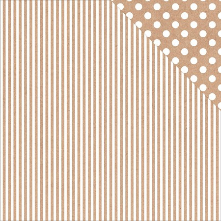 "KaiserCraft - Back To Basics Collection - 12""x12"" Double Sided Cardstock - Kraft Stripe & Polka Dot"