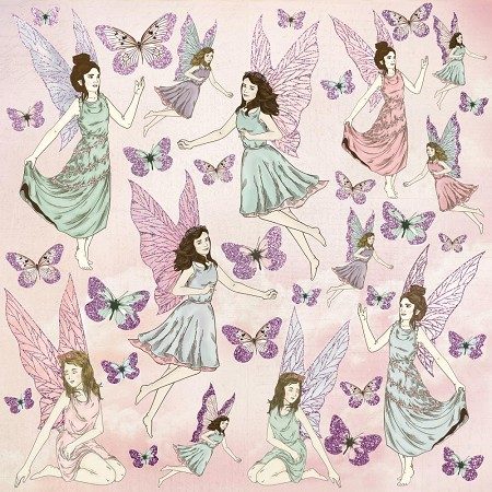 "KaiserCraft - Fairy Garden Collection - 12""x12"" Glittered Cardstock - Flutterby"