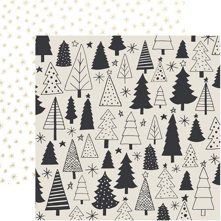 "KaiserCraft - First Noel Collection - 12""x12"" Double Sided Paper - Evergreen (gold foiled)"