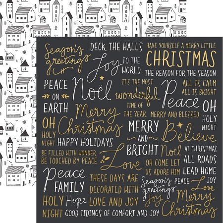 "KaiserCraft - First Noel Collection - 12""x12"" Double Sided Paper - Wonderful (gold foiled)"
