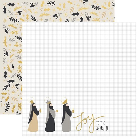 "KaiserCraft - First Noel Collection - 12""x12"" Double Sided Paper - Gifts (gold foiled)"
