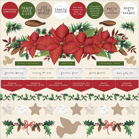 "KaiserCraft - Home For Christmas Collection - 12""x12"" Sticker Sheet"