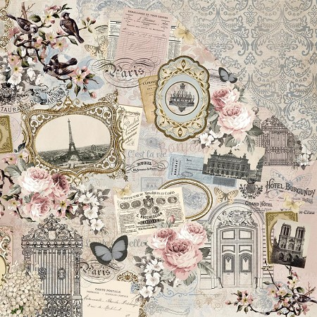"KaiserCraft - Romantique Collection - 12""x12"" Double Sided Cardstock - Parisian"