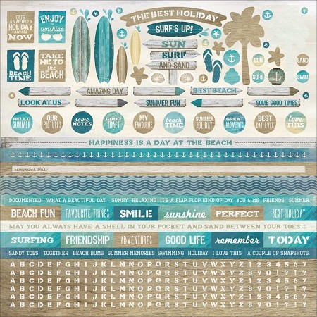 "KaiserCraft - Sandy Toes Collection - 12""x12"" Sticker Sheet"