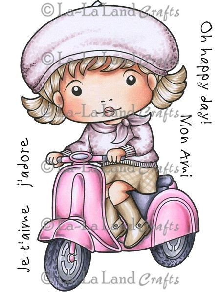 La-La Land Crafts - Rubber Cling Stamp - Marci on Scooter