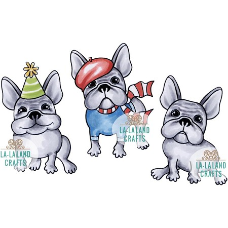 La-La Land Crafts - Rubber Cling Stamp - Mini Frenchies