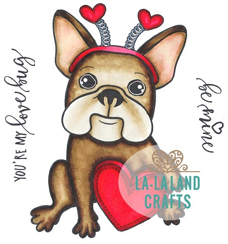 La-La Land Crafts - Rubber Cling Stamp - Love Bug Frenchie