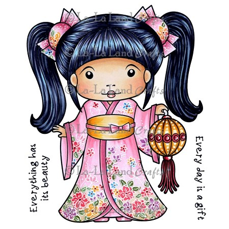 La-La Land Crafts - Rubber Cling Stamp - Kimono Marci with Lantern