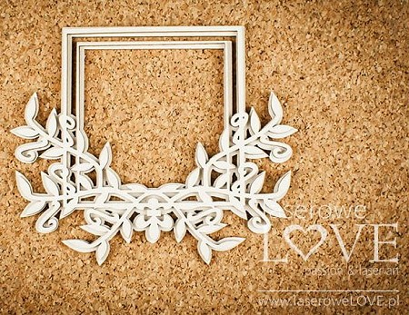 Laserowe Love Chipboard - Frame with Leaves - White and Innocent
