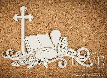 Laserowe Love Chipboard - First Communion Composition - White and Innocent