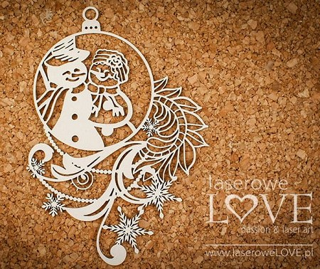 Laserowe Love Chipboard - Bauble with snowmen couple - Shabby Winter