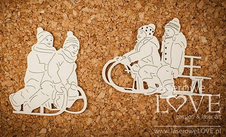 Laserowe Love Chipboard - Children on sleds - Shabby Winter