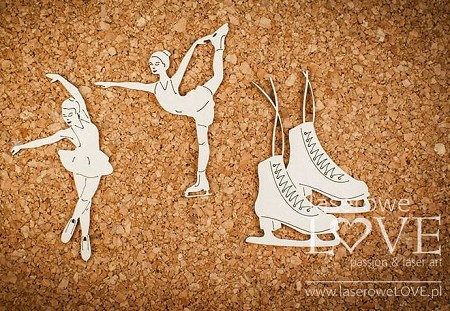 Laserowe Love Chipboard - Figure skater girls and skates - Shabby Winter