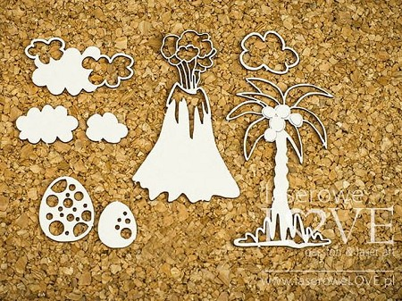 Laserowe Love Chipboard - Volcano and Palm Tree - Dino Land
