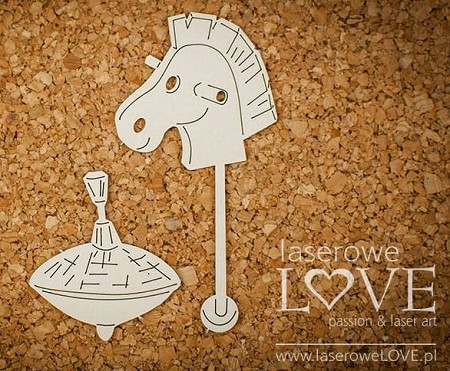 Laserowe Love Chipboard - Hobby Horse & Tin Top - Vintage Baby